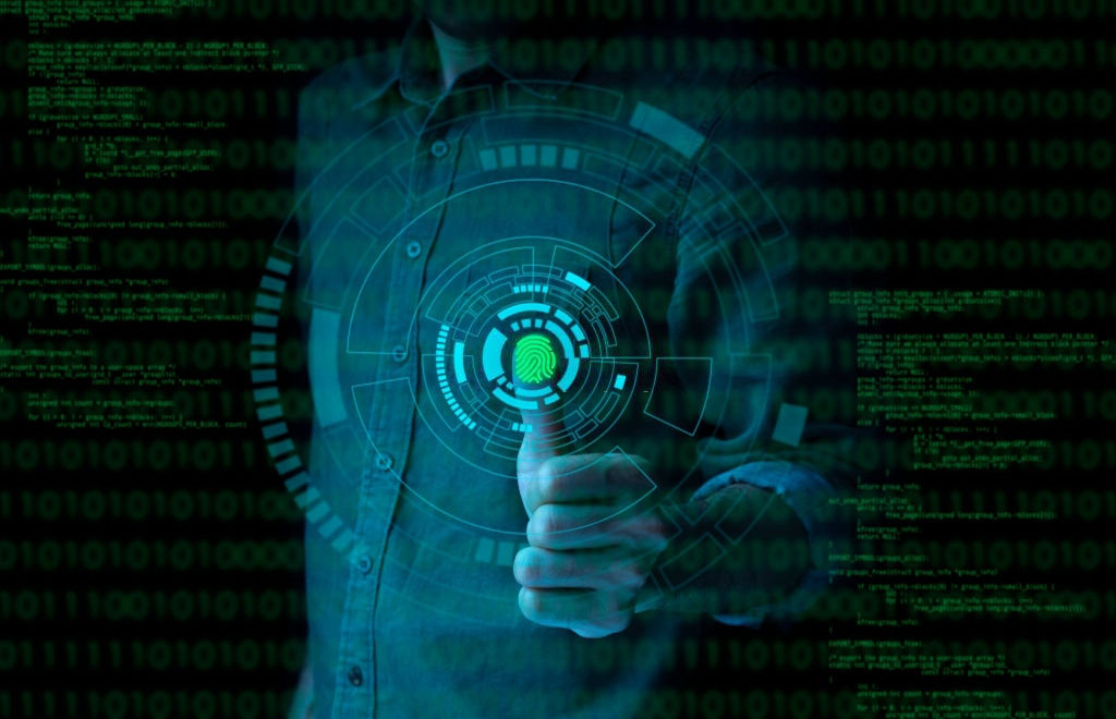 Businessman fingerprint scan provides security access with biometrics identification and password control through fingerprints in an advanced technological future and cybernetic